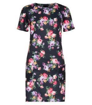 Black Floral Print Pocket Tunic Dress | interest thing | Scoop.it