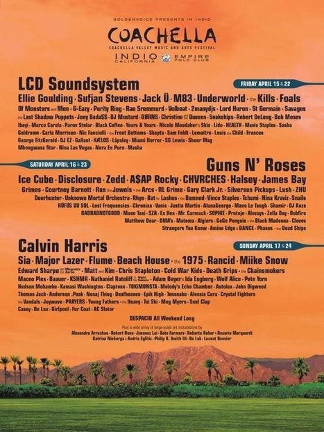 2016 Coachella Lineup Announced, Guns N' Roses Reunion Made Official - Music Feeds | Paper Rock | Scoop.it