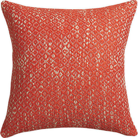 "diamond weave red-orange 18"" pillow with down-alternative insert 