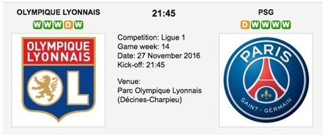 Ol. Lyonnais vs. PSG: Match Preview 27/11/2016 Ligue 1 | Free betting tips on football,tennis,hockey & more | Scoop.it