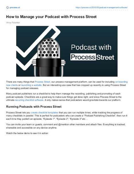 How to Manage your Podcast with Process Street | Business Process Management | Scoop.it