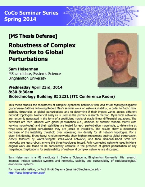 CoCo Seminar on this Wednesday: MS Thesis Defense by Sam Heiserman on Network Stability | Center for Collective Dynamics of Complex Systems (CoCo) | Scoop.it