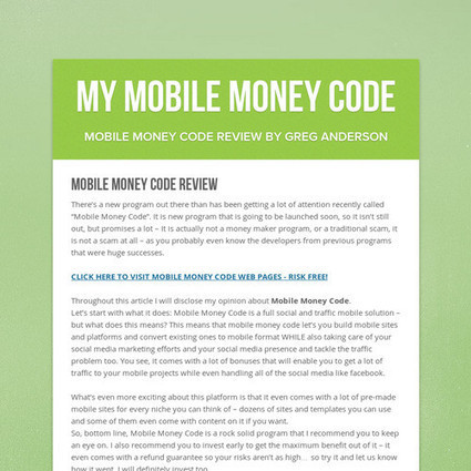 MY MOBILE MONEY CODE | Turnkey Commissions Review - Wasting Your Cash? | Scoop.it
