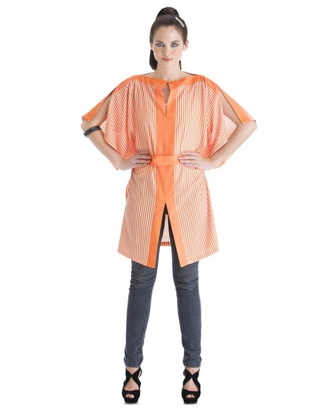 Buy the orange striped 'line up' tunic by Yogesh Chaudhary at Stylista   Stylista   Scoop.it