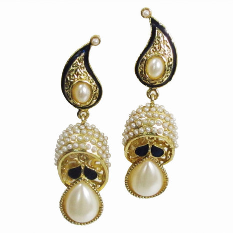 Smoke White and dark blue  Pair of Danglers with unique design  SMER544   Online Shopping in India   Scoop.it