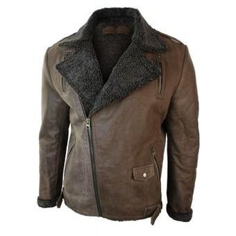 Mens Slim Fit Cross Zip Tan Brown Vintage Leather Biker Jacket Fur Fleece Lined | Mens clothing | Scoop.it