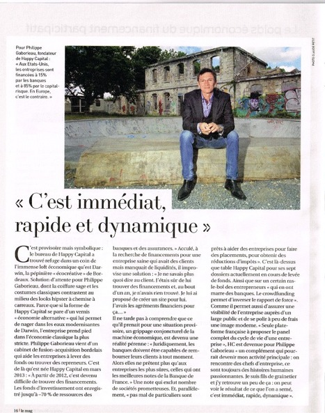 Le Crowdfunding dans le mag Sud-Ouest du 31 mai 2014 | happy capital | Financement participatif | Scoop.it