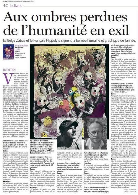 Le Soir du 2 au 3 novembre 2013 : Interview de Vincent Zabus et Hippolyte pour leur album Les Ombres   Les Ombres de Vincent Zabus et Hippolyte, éditions Phébus (bande-dessinée)   Scoop.it