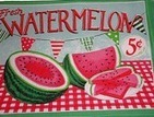 Country Placemats Watermelon Cotton Summer Place mats retro 5 cents | Candy Buffet Weddings, Events, Food Station Buffets and Tea Parties | Scoop.it