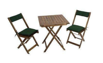(1)   Balkonset Kreta aus Akazienholz 3-teilig, mit Auflage grün, Tisch 60×60 | Günstig Gartenmöbel Set | Scoop.it