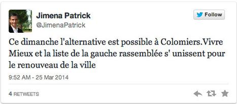 Tweet : @JimenaPatrick annonce la fusion avec la liste de François Dumas | Municipales à Colomiers : Les échos de la campagne dans la 2e ville de Haute-Garonne | Scoop.it