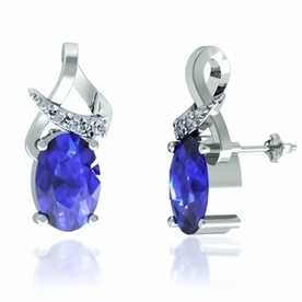 .8ctw Oval Tanzanite Earring With .15ctw Diamonds in 14k White Gold | Tanzanite Earrings | Scoop.it