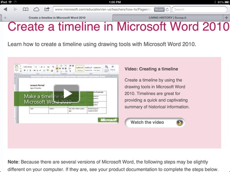 Create a timeline in Microsoft Word 2010 | LIVING HISTORY | Scoop.it