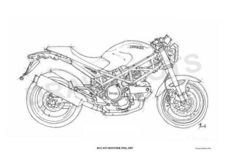 DUCATI MONSTER 695d 2007 -Original Handmade Drawing Fine Print, 11.5x16 in. (29x41 cm), Limited Edition print Classic motorcycle Art Print | Ducati Art | Scoop.it