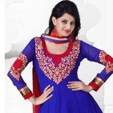 Blue Faux Georgette Salwar Kameez | Strollay.com | Scoop.it