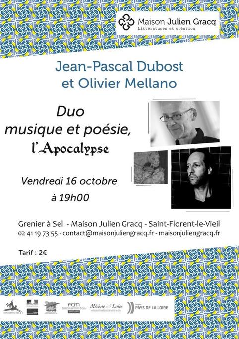 (agenda) 16 octobre, Saint-Florent le Vieil, Musique et poésie, Jean-Pascal Dubost et Olivier Mellano   Poezibao   Scoop.it