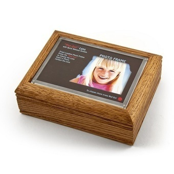 "Oak Photo Frame Music Box with New ""Pop-Out"" lens System 