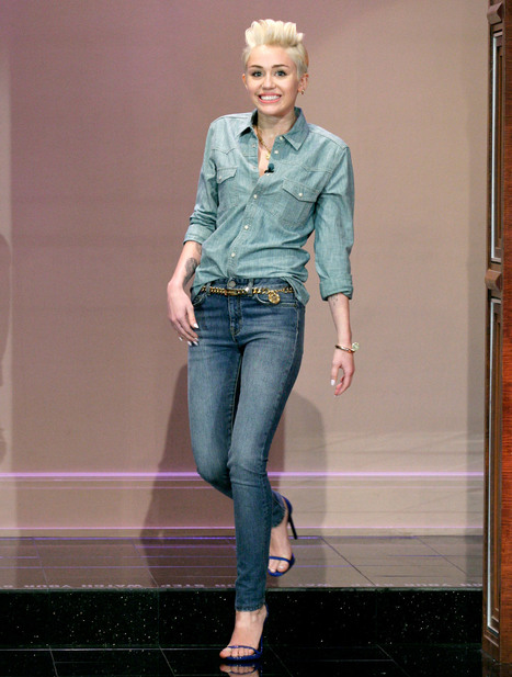 """Miley Cyrus' Denim on Denim Look on """"The Tonight Show with Jay Leno:"""" So ... - Us Magazine 