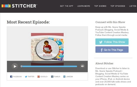 Stitcher Adds Facebook and Twitter Follow Buttons to Ms. Ileane Speaks Podcast Show Page | Podcasts | Scoop.it