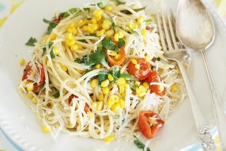 Spaghetti with sweetcorn, cherry tomatoes and herbs | À Catanada na Cozinha Magazine | Scoop.it