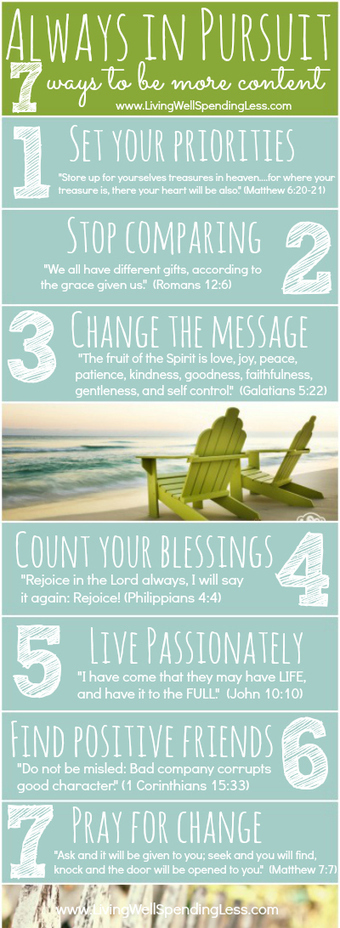 Always In Pursuit {7 Ways to Be More Content} | Living Well Spending Less | Inspirations | Scoop.it