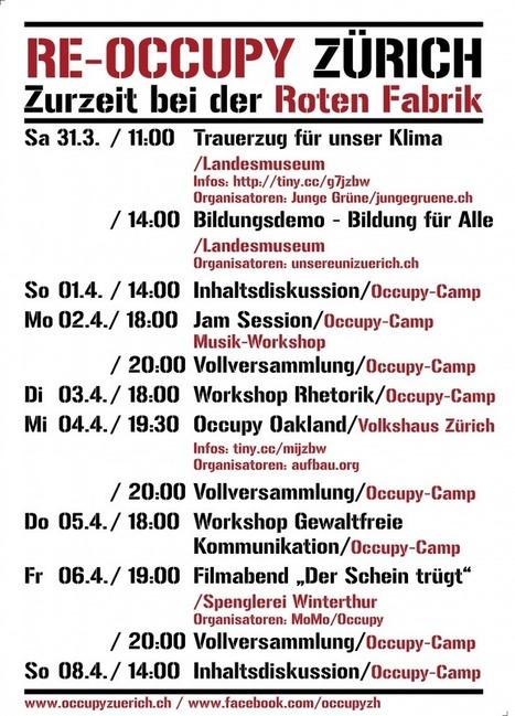 Aktivitäts-Wochenplan KW 14 (31.03-08.04) | Occupy Zürich | Occupy Zürich | Scoop.it