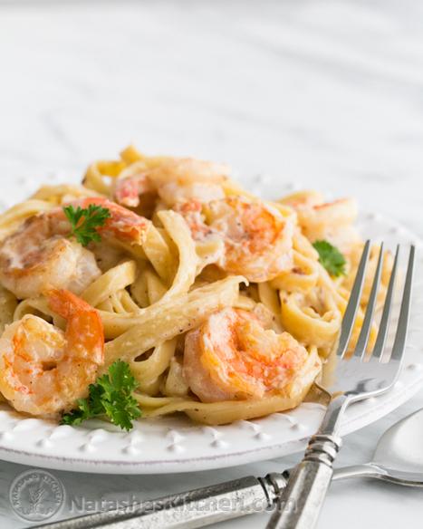 Creamy Shrimp Alfredo Pasta Recipe | NatashasKitchen.com | Recipedose | Scoop.it
