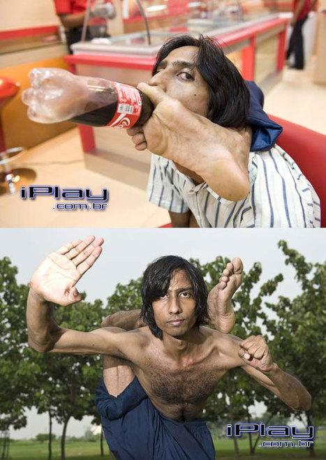 'Homem borracha' toma refrigerante segurando garrafa com o pé. | Super Dotados | Scoop.it
