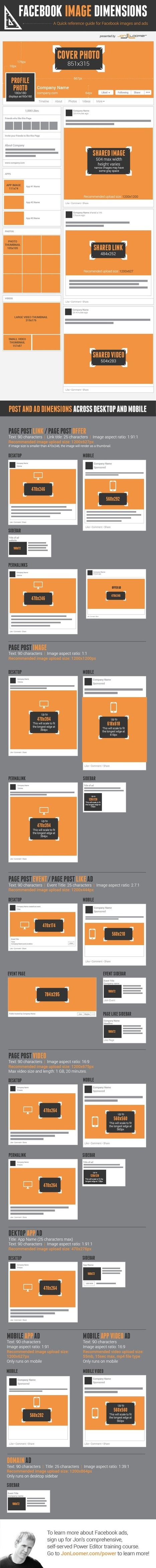 All Facebook Image Dimensions: Timeline, Posts, Ads [Infographic] | Community Management - veille | Scoop.it