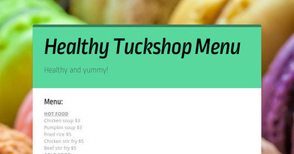 Healthy Tuckshop Menu | Technology for design in the early years | Scoop.it