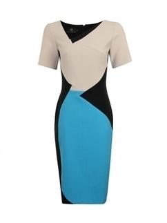 Aqua Blue/Black Daria Crepe Sleeved Dress | Online Shopping | Nigeria | Ghana | Besaz Boutique | Scoop.it
