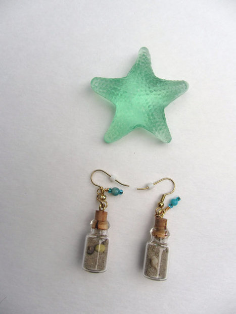 Beach Sand and Seashell Memories Bottle Earrings Shells Gold Texas Gulf Coast | Texas Coast Living | Scoop.it