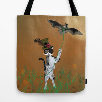 Cat Walking His Bat Tote Bag by FlaminCat Designs | Society6 | New From Society6 | Scoop.it