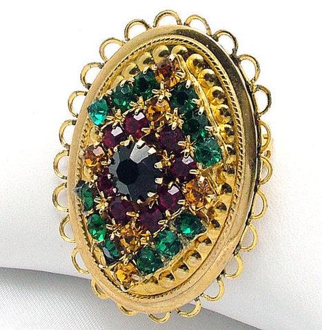 Oval Vintage Brooch Open Scalloped Edge & Multi Colored Rhinestones | Beautiful Bargain Vintage Costume Jewelry | Scoop.it