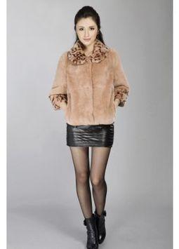 Women's Furs :: Fur Jackets :: Rabbit :: Full Skin Rex Rabbit Fur Jacket with Leopard Printed Collar & Cuffs - | furs | Scoop.it