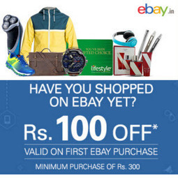 Ebay.in Deal: [New Users] Ebay Rs. 100 off on Rs. 300, Rs. 200 off on Rs. 500 + 1% off (at) Ebay.in | indiadime | Scoop.it