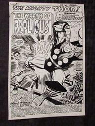 "1967 THOR #141 Production STAT Art 7x9.5"" 16 pgs JACK KIRBY 1st Replicus 