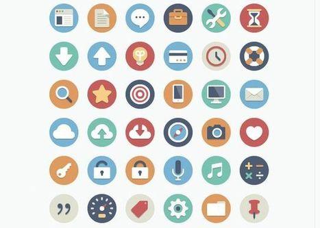 90 circle icons, bonita colección de iconos planos con forma circular | Educomunicación | Scoop.it