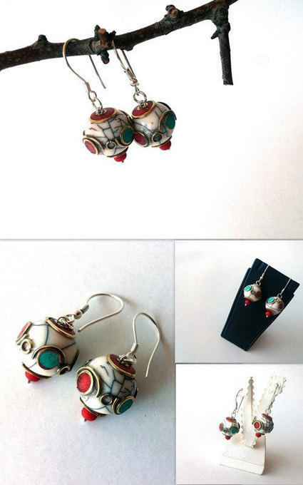 Tibetan Jewelry, Christmas Gift, Sterling Silver Filigre, Tibetan White Crackle Resin Bead,Turquoise and Coral Pierced Dangle/Drop Earrings | My Jewelrys | Scoop.it