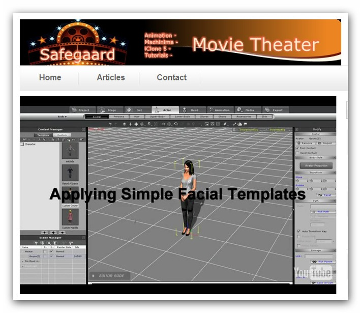 iClone5 New Tutorial – Intro to Facial Animation « Safegaard – Movie Theater | Machinimania | Scoop.it