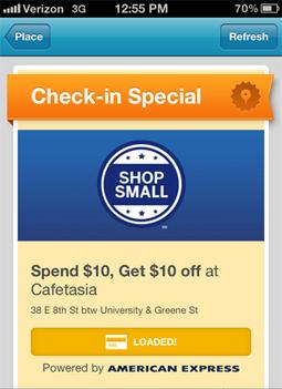 Dépenser $10, gagner $10 avec American Express et Foursquare | toute l'info sur Foursquare | Scoop.it