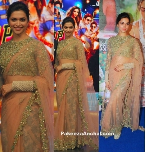 Deepika Padukone in Beige Sabyasachi Saree with Fancy Net & Embroidery | Indian Fashion Updates | Scoop.it