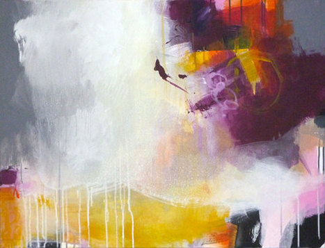 Original abstract painting, modern art, acrylic paintings, yellow purple orange pink white painting, CABO ROIG   AMAZING things!   Scoop.it