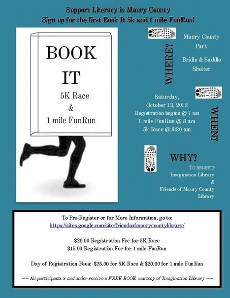 Book-It 5k & 1 Mile FunRun Benefit Set For Friends Of Maury County Library | Spring Hill Fresh-A Fresh, New Voice in Spring Hill, TN | Tennessee Libraries | Scoop.it