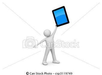 Stock Illustration of Happy ipad owner 3d isolated on white background characters,... csp3119749 - Search Vector Clipart, Drawings, Illustrations, and EPS Graphics Images | Wordpress Scoops | Scoop.it
