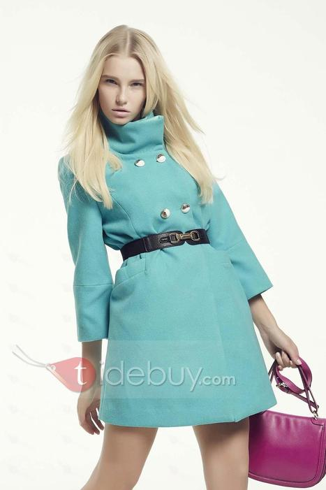 Pure Color Stand Collar Double Breasted Trench Coat   fashion   Scoop.it