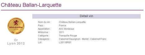 Ch Ballan-Larquette 2011 médaille d'Or au concours de Lyon | Nombrilisme | Scoop.it