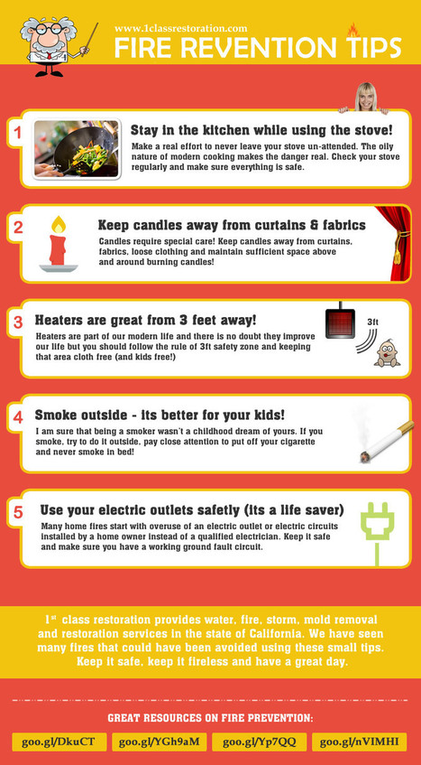 Fire prevention tips infographic | 1st Class Restoration | Fire Prevention Tips | Scoop.it
