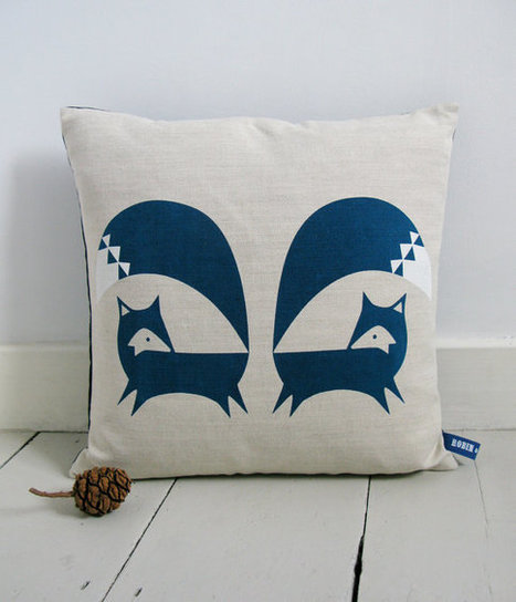 Hand Screen Printed Fox Cushion in French Navy by robinandmould | homedecor | Scoop.it