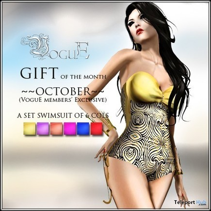 Swimsuit Fat Pack 6 Colors October 2015 Group Gift by VoguE | Teleport Hub - Second Life Freebies | Second Life Freebies | Scoop.it